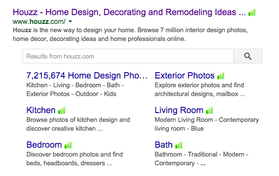 Houzz Search in Google Search Results