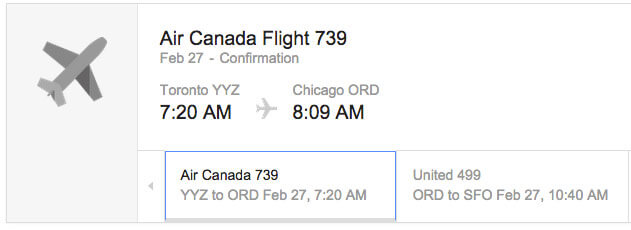 Air Canada email with schema tags.
